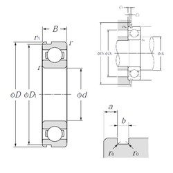 95 mm x 170 mm x 32 mm  NTN 6219N deep groove ball bearings