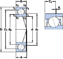 8 mm x 19 mm x 6 mm  SKF 719/8 CE/HCP4AH angular contact ball bearings