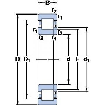 90 mm x 190 mm x 64 mm  SKF NUP 2318 ECML thrust ball bearings