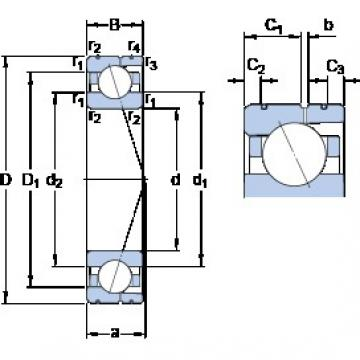 140 mm x 210 mm x 33 mm  SKF 7028 CD/HCP4AL angular contact ball bearings